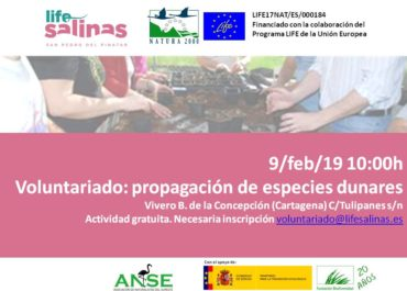 Primer voluntariado organizado por ANSE para  la producción de la planta en el vivero de Cartagena