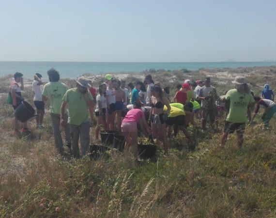 Los alumnos y alumnas del Colegio Concertado Nuestra Señora de los Dolores, de Hellín, participan en la retirada de Especies Exóticas Invasoras
