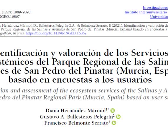 Ecosystem services in the Salinas y Arenales de San Pedro del Pinatar Regional Park